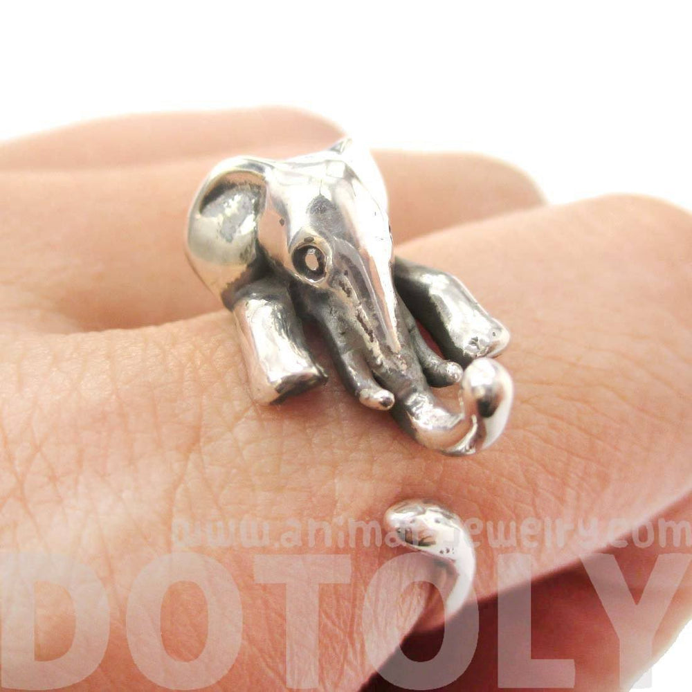 Realistic Elephant Shaped Animal Wrap Around Ring in 925 Sterling Silver | US Sizes 5 to 9 | DOTOLY