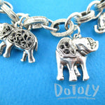 Realistic Elephant Shaped Linked Charm Necklace in Silver | DOTOLY