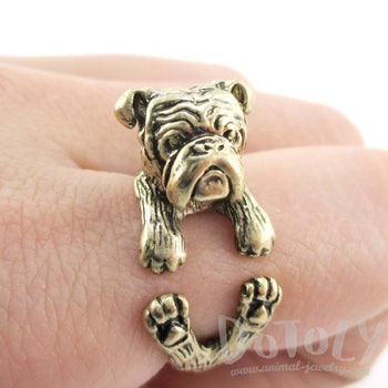 Realistic English Bulldog Shaped Animal Wrap Around Ring in Brass | Sizes 6 to 9 | DOTOLY