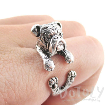 Realistic English Bulldog Shaped Animal Wrap Around Ring in Silver | Sizes 6 to 9 | DOTOLY