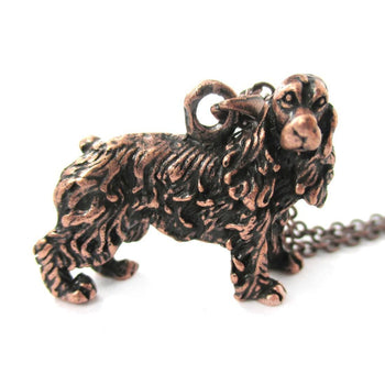 Realistic English Cocker Spaniel Shaped Animal Pendant Necklace in Copper | Jewelry for Dog Lovers | DOTOLY