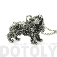 Realistic English Cocker Spaniel Shaped Animal Pendant Necklace in Silver | Jewelry for Dog Lovers | DOTOLY