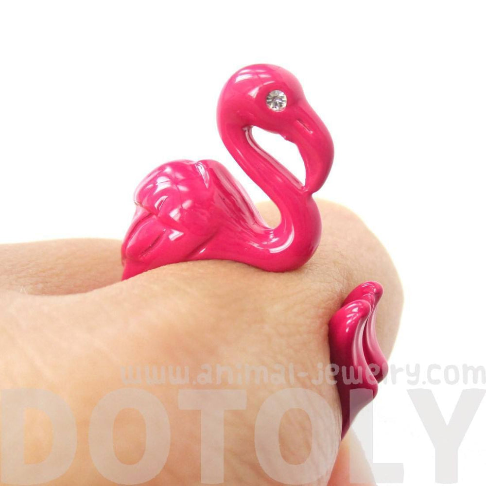 Realistic Flamingo Bird Shaped Animal Wrap Around Ring in Pink | Sizes 4 to 9 Available | DOTOLY