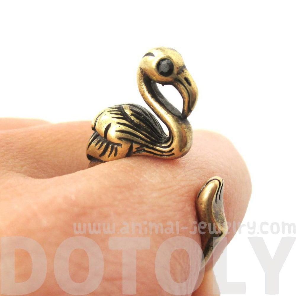 Realistic Flamingo Shaped Animal Wrap Ring in Brass | US Size 6 to 9 | DOTOLY