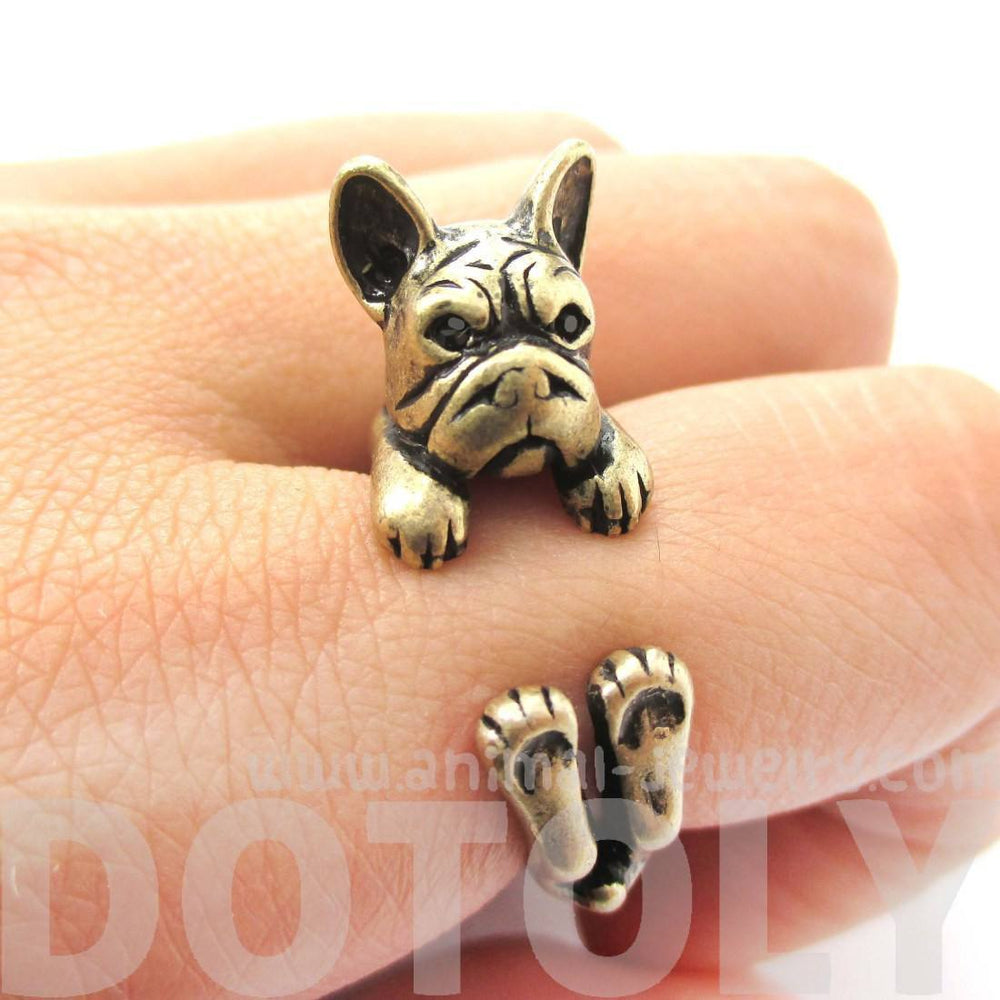 Realistic French Bulldog Dog Shaped Animal Wrap Around Ring in Brass | US Sizes 4 to 8.5 | DOTOLY