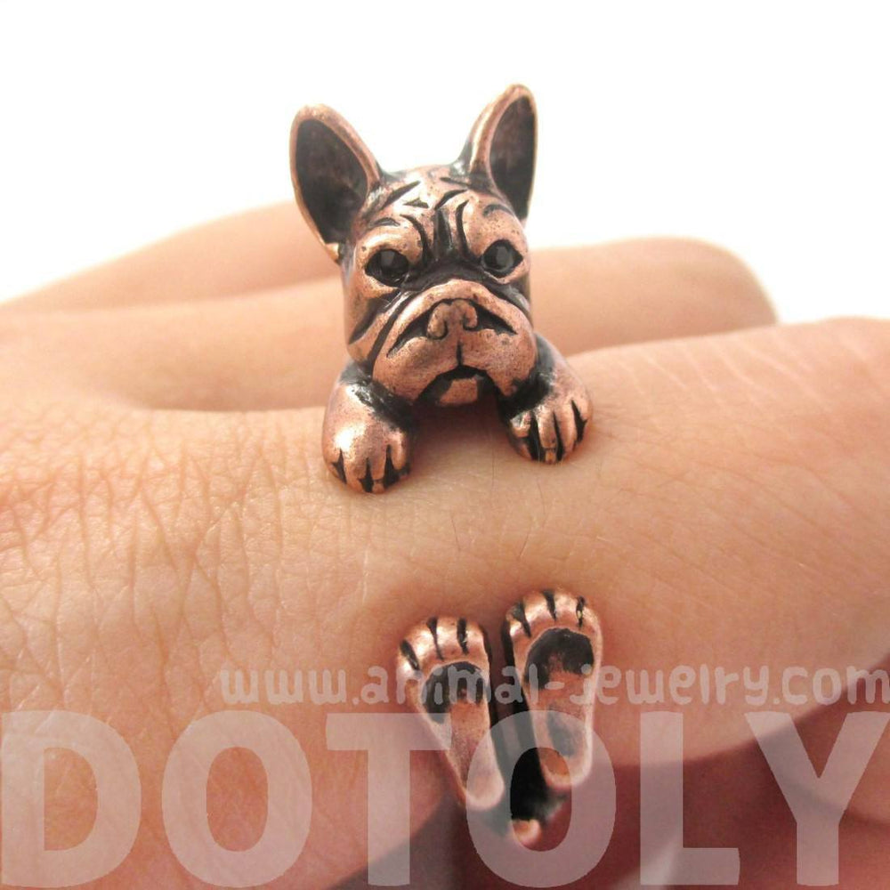 Realistic French Bulldog Dog Shaped Animal Wrap Around Ring in Copper | US Sizes 4 to 8.5 | DOTOLY