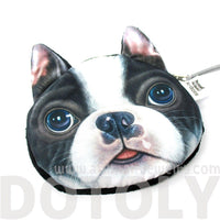 Realistic Boston Terrier Puppy Face Shaped Soft Fabric Coin Purse Make Up Bag | DOTOLY