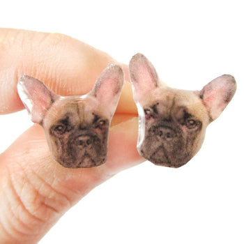 Realistic French Bulldog Head Animal Shaped Resin Stud Earrings | Made To Order | Handmade | DOTOLY