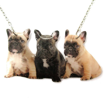 Realistic French Bulldog Puppies Shaped Pet Portrait Pendant Necklace | Handmade | DOTOLY