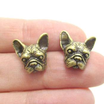 Realistic French Bulldog Puppy Dog Face Shaped Stud Earrings in Brass | DOTOLY | DOTOLY