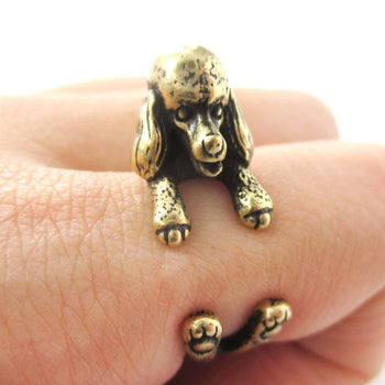 Realistic French Poodle Shaped Animal Wrap Ring in Brass | Sizes 4 to 8.5 | DOTOLY