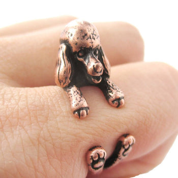 Realistic French Poodle Shaped Animal Wrap Ring in Copper | Sizes 4 to 8.5 | DOTOLY