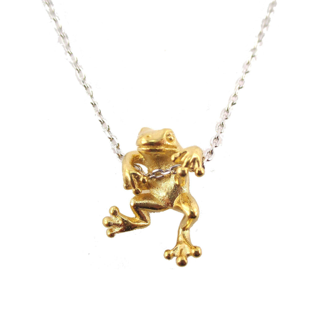 Realistic Frog Pendant Dangling on a Chain Necklace in Gold on