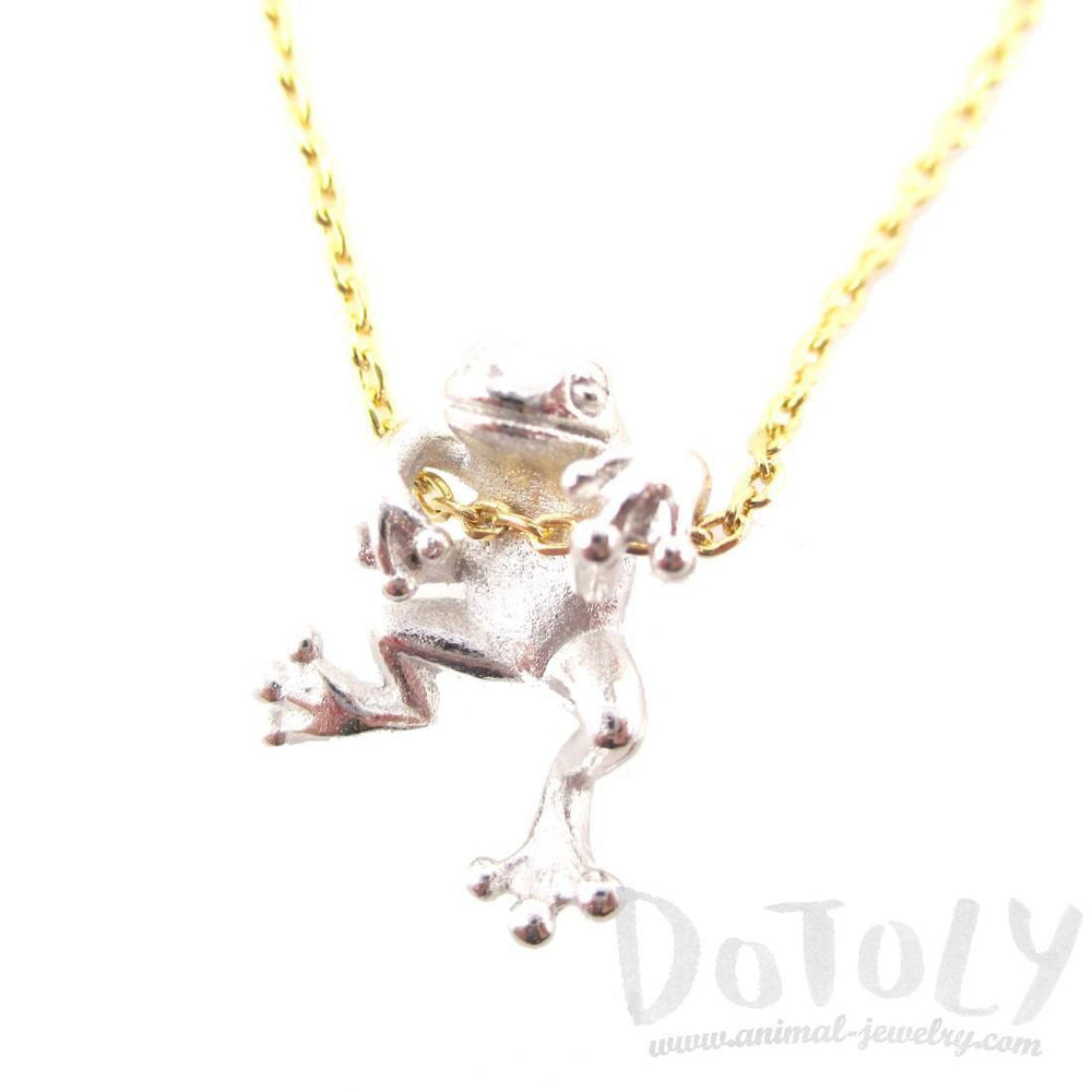 Realistic Frog Pendant Dangling on a Chain Necklace in Silver | Animal Jewelry | DOTOLY