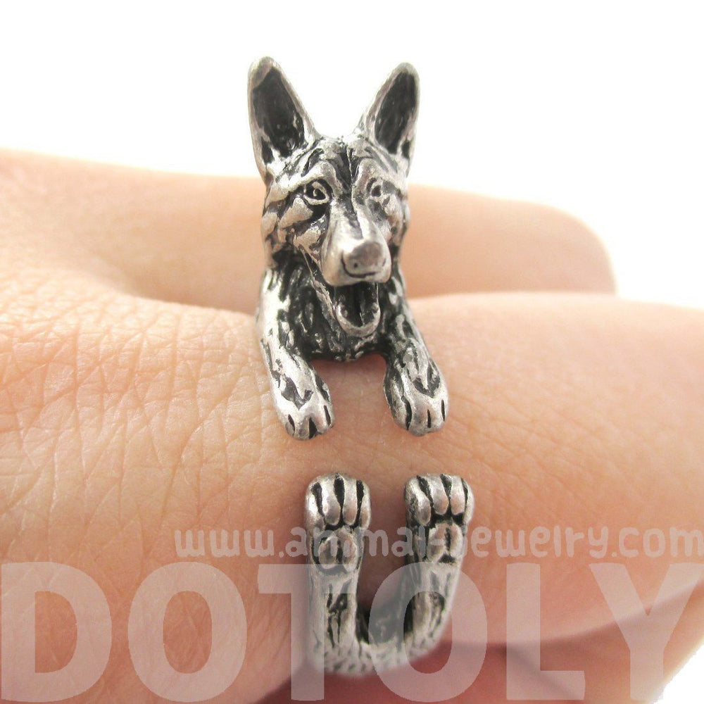 Realistic German Shepherd Shaped Animal Wrap Ring in Silver | Sizes 4 to 8.5 | DOTOLY