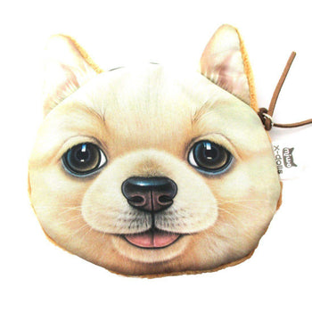 Realistic Golden Retriever Puppy Dog Face Shaped Soft Fabric Coin Purse Make Up Bag | DOTOLY