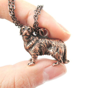 Realistic Golden Retriever Puppy Dog Shaped Animal Pendant Necklace in Copper | DOTOLY