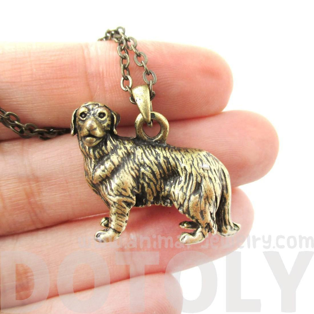 Realistic Golden Retriever Puppy Dog Necklace in Brass | Jewelry for Dog Lovers | DOTOLY