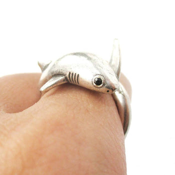 Realistic Great White Shark Shaped Animal Wrap Ring in Silver | US Size 6 to 9 | DOTOLY