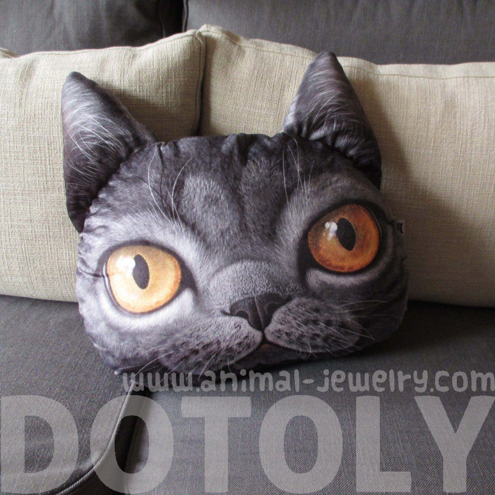 Realistic Grey Cat Face Shaped Animal Themed Cushion – DOTOLY