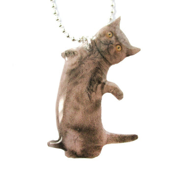 Realistic Grey Kitty Cat Stretching on Hind Legs Shaped Pendant Necklace | DOTOLY