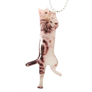 Realistic Grey Striped Kitty Cat Shaped Dangling Pendant Necklace | Handmade | DOTOLY