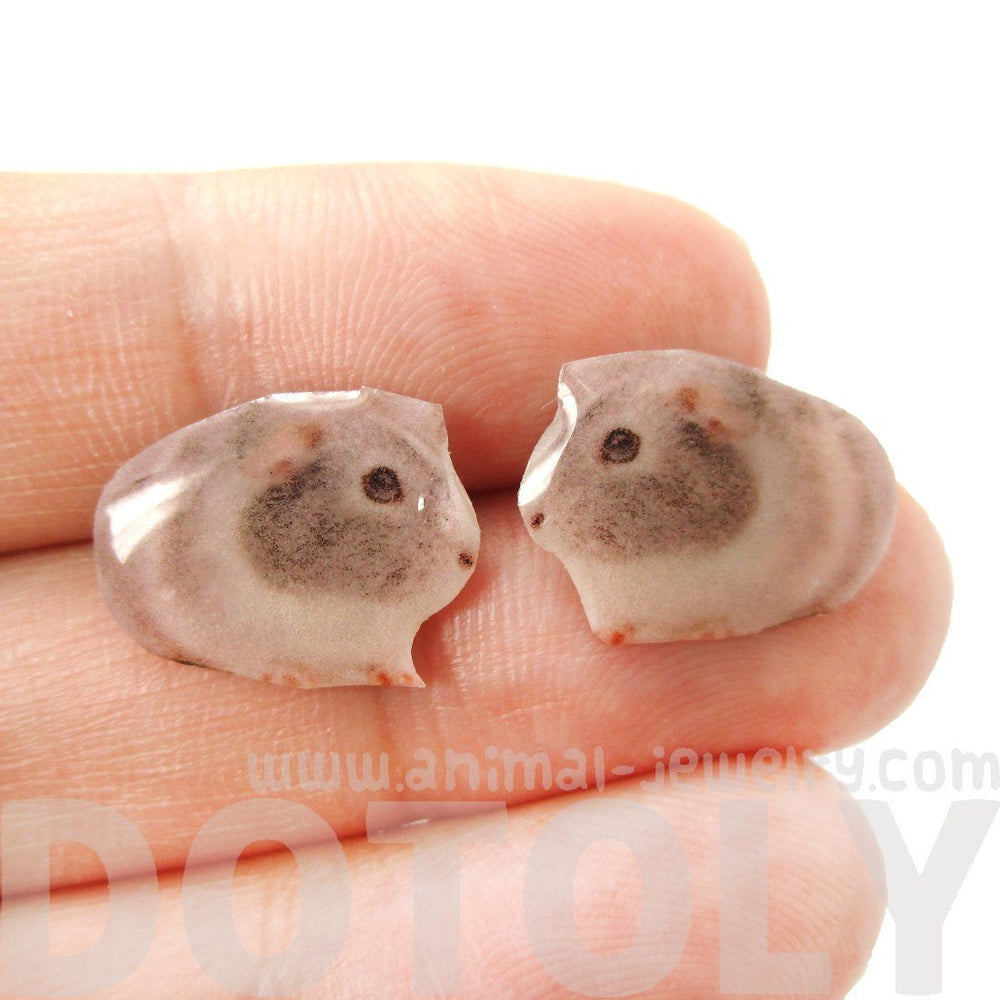 Realistic Guinea Pig Shaped Animal Resin Stud Earrings | Made To Order | Handmade | DOTOLY