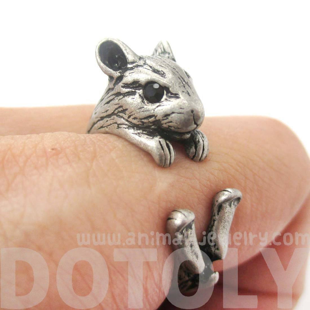 Realistic Hamster Gerbil Guinea Pig Shaped Animal Wrap Around Ring in Silver | US Sizes 4 to 8.5 | DOTOLY