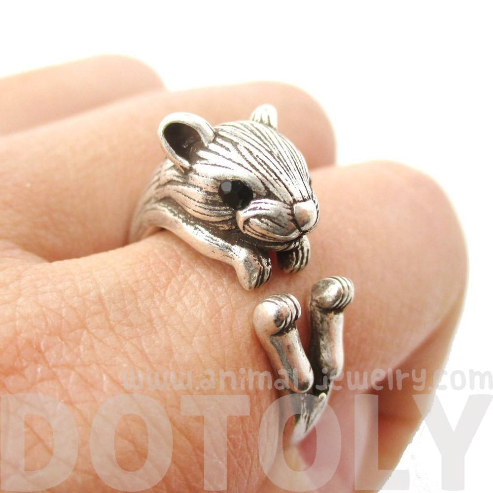 Realistic Hamster Gerbil Shaped Animal Wrap Ring in Silver | US Size 6 to 9 | DOTOLY