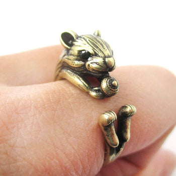 Realistic Hamster Gerbil With Walnut Animal Wrap Ring in Brass | US Size 6 to 9 | DOTOLY