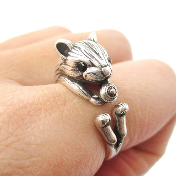 Realistic Hamster Gerbil With Walnut Animal Wrap Ring in Silver | US Size 6 to 9 | DOTOLY