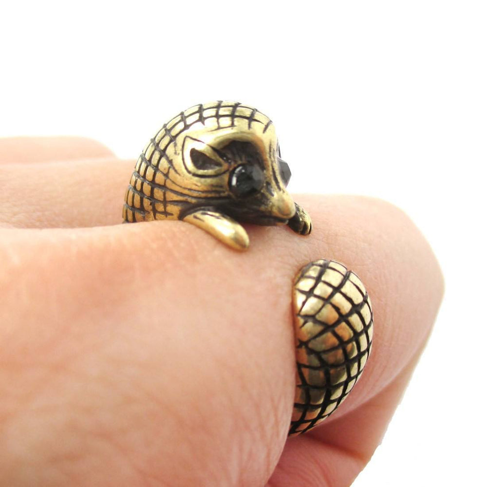 Realistic Hedgehog Porcupine Shaped Animal Wrap Ring in Brass | US Size 6 to 9 | DOTOLY