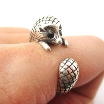 Realistic Hedgehog Porcupine Shaped Animal Wrap Ring in Silver | US Size 6 to 9 | DOTOLY