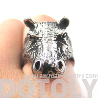 Realistic Hippo hippopotamus Shaped Animal Ring in Silver | US Size 7 and 8 | DOTOLY