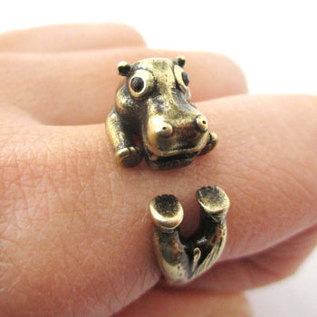 Realistic Hippo Hippopotamus Shaped Animal Wrap Ring in Brass | US Size 6 to 9 | DOTOLY