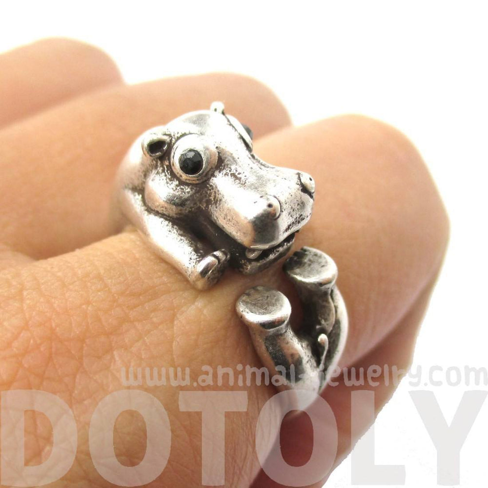 Realistic Hippo Hippopotamus Shaped Animal Wrap Ring in Silver | US Size 6 to 9 | DOTOLY