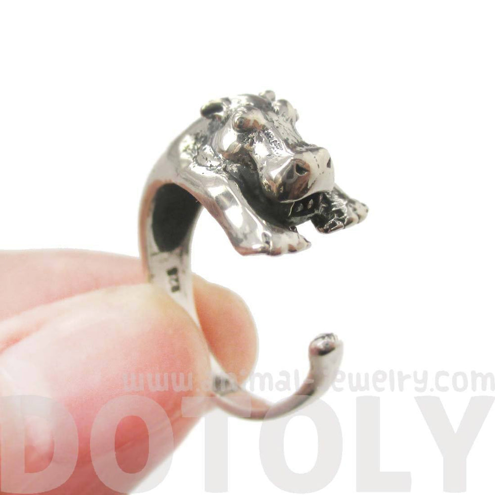 Realistic Hippo Shaped Animal Wrap Around Ring in 925 Sterling Silver | US Sizes 4 to 8.5 | DOTOLY
