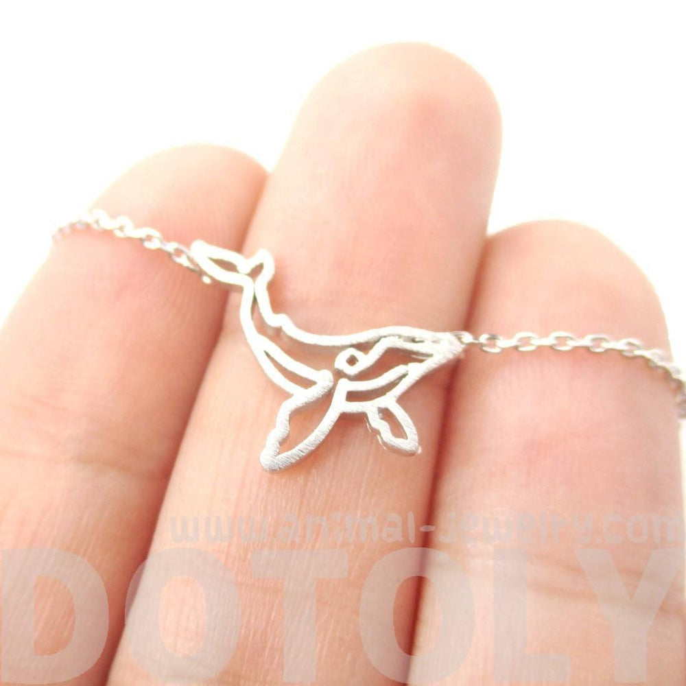 Realistic Humpback Whale Animal Dye Cut Outline Charm Necklace in Silver | DOTOLY | DOTOLY