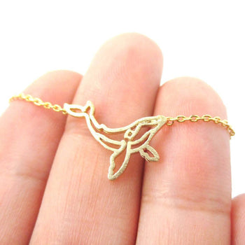 Realistic Humpback Whale Silhouette Animal Charm Necklace in Gold | DOTOLY | DOTOLY