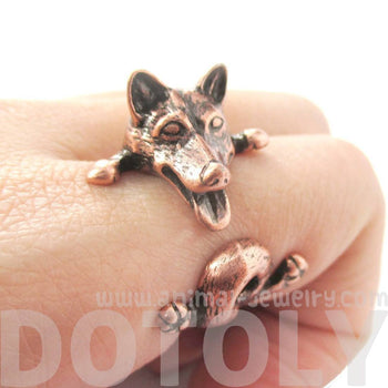 Realistic Husky Puppy Shaped Animal Wrap Ring in Copper | Sizes 6 to 9 | DOTOLY
