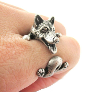 Realistic Husky Puppy Shaped Animal Wrap Ring in Silver | Sizes 6 to 9 | DOTOLY