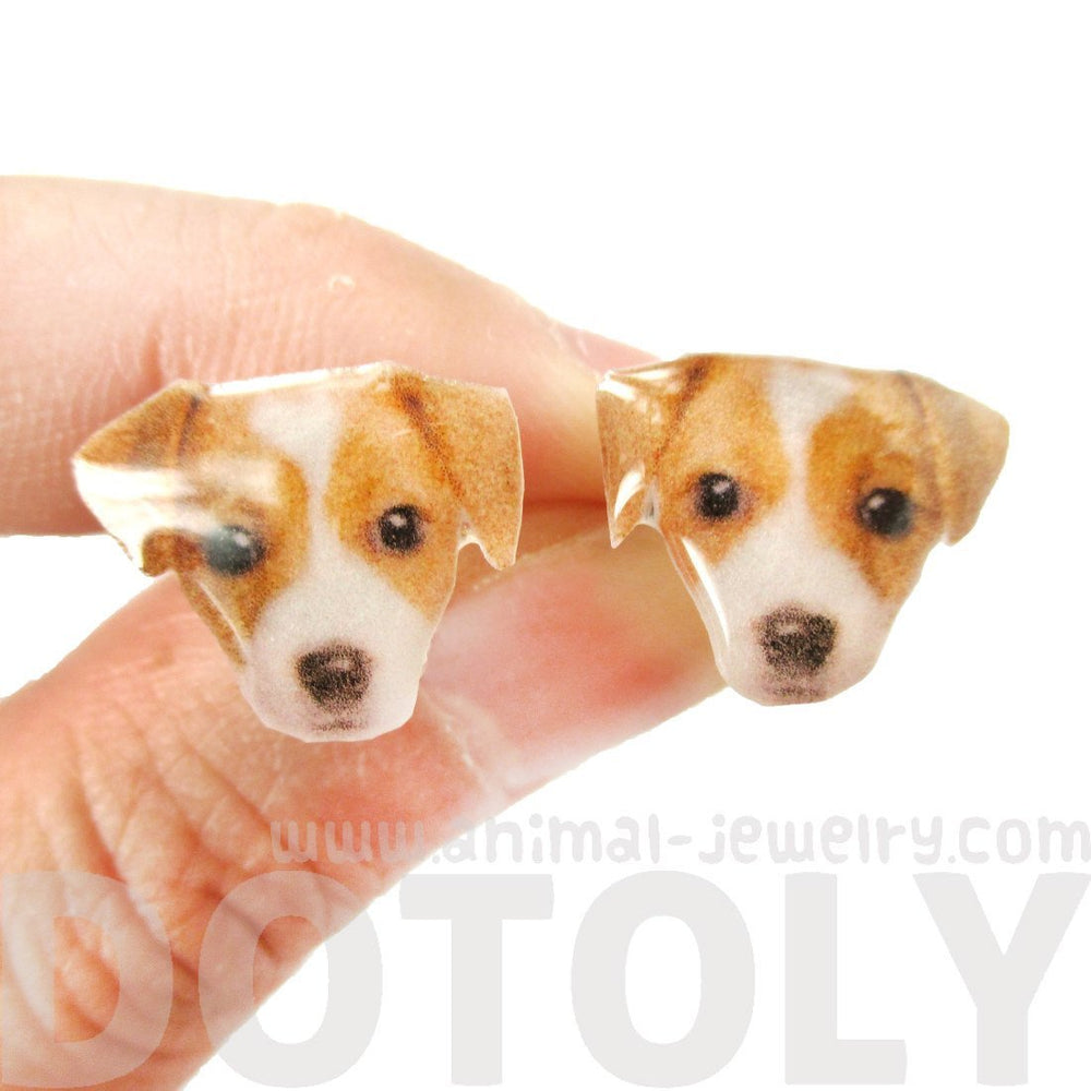 Realistic Jack Russell Terrier Puppy Face Shaped Animal Resin Stud Earrings | DOTOLY