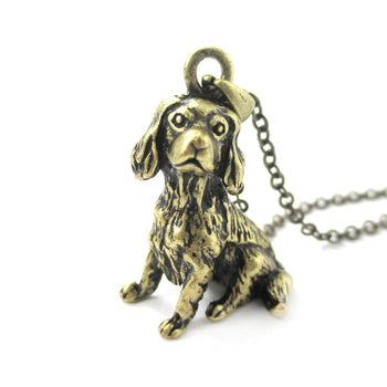 Realistic King Charles Spaniel Shaped Animal Pendant Necklace in Brass | Jewelry for Dog Lovers | DOTOLY