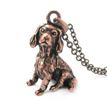 Realistic King Charles Spaniel Shaped Animal Pendant Necklace in Copper | Jewelry for Dog Lovers | DOTOLY