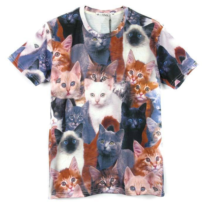 Realistic Kitty Cat Photo Collage Print Graphic Tee T-Shirt for Women | DOTOLY