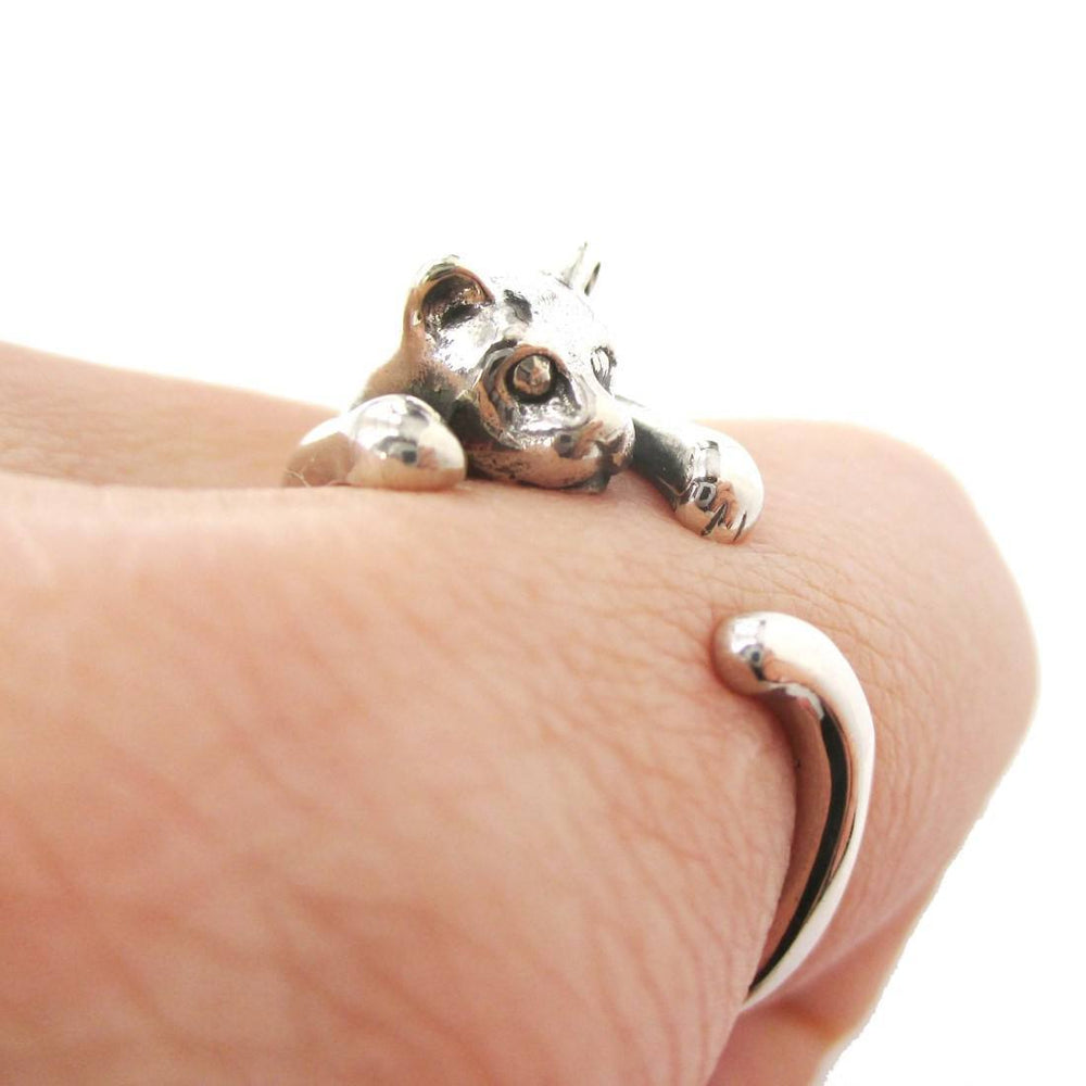Realistic Kitty Cat Shaped Animal Wrap Around Ring in 925 Sterling Silver | US Sizes 3 to 8 | DOTOLY