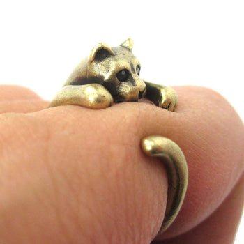 Realistic Kitty Cat Shaped Animal Wrap Around Ring in Brass | US Size 3 to Size 8.5 | DOTOLY