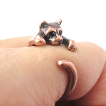 Realistic Kitty Cat Shaped Animal Wrap Around Ring in Copper | US Size 3 to Size 8.5 | DOTOLY