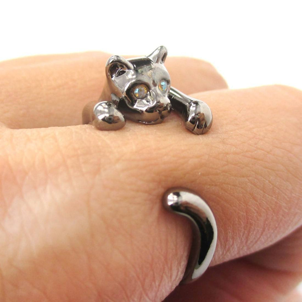 Realistic Kitty Cat Shaped Animal Wrap Around Ring in Gunmetal Silver | US Size 3 to Size 8.5 | DOTOLY
