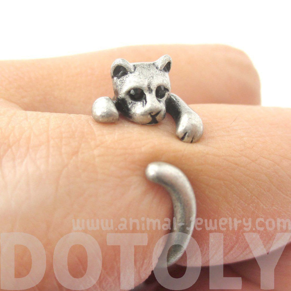 Realistic Kitty Cat Shaped Animal Wrap Around Ring in Silver | US Size 3 to Size 8.5 | DOTOLY
